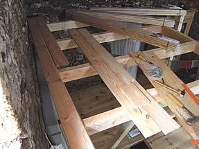 plancher mezzanine en cours de finition