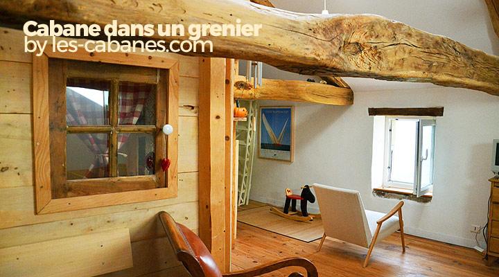 cabane en bois dans un grenier. auto-construction