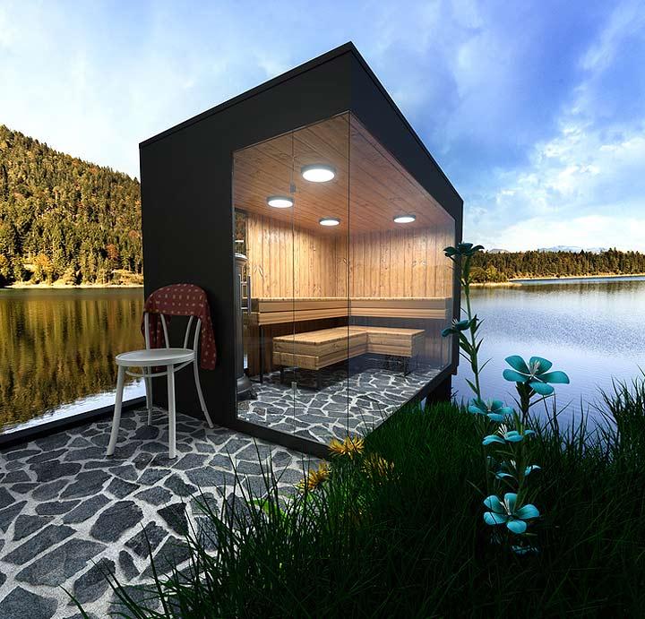 cabane sauna noire au bord de l'eau