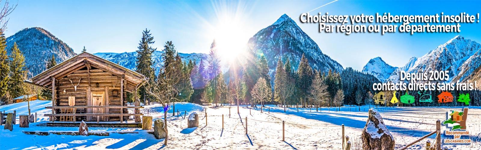 location de cabanes avec de la neige