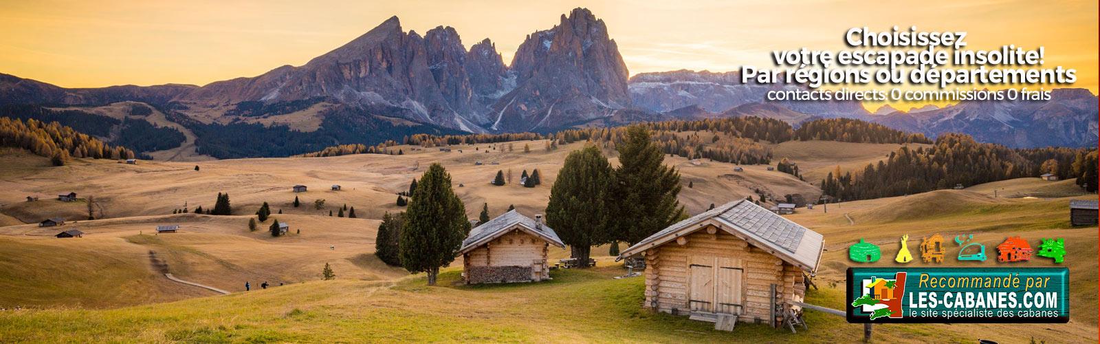 paysage avec cabane et montagne en location