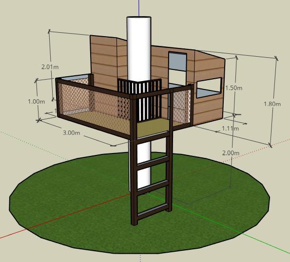 plan en 3D de cabane perchées