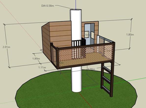 shéma en 3D d'une cabane perchée