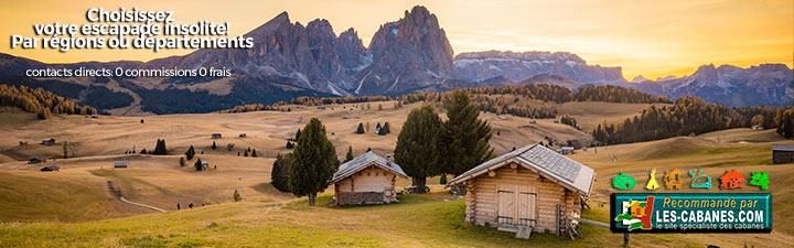 annonce de location de cabane avec paysage de montagne et deux chalets