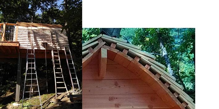 vues exterieur de la construction de la cabane en amateur